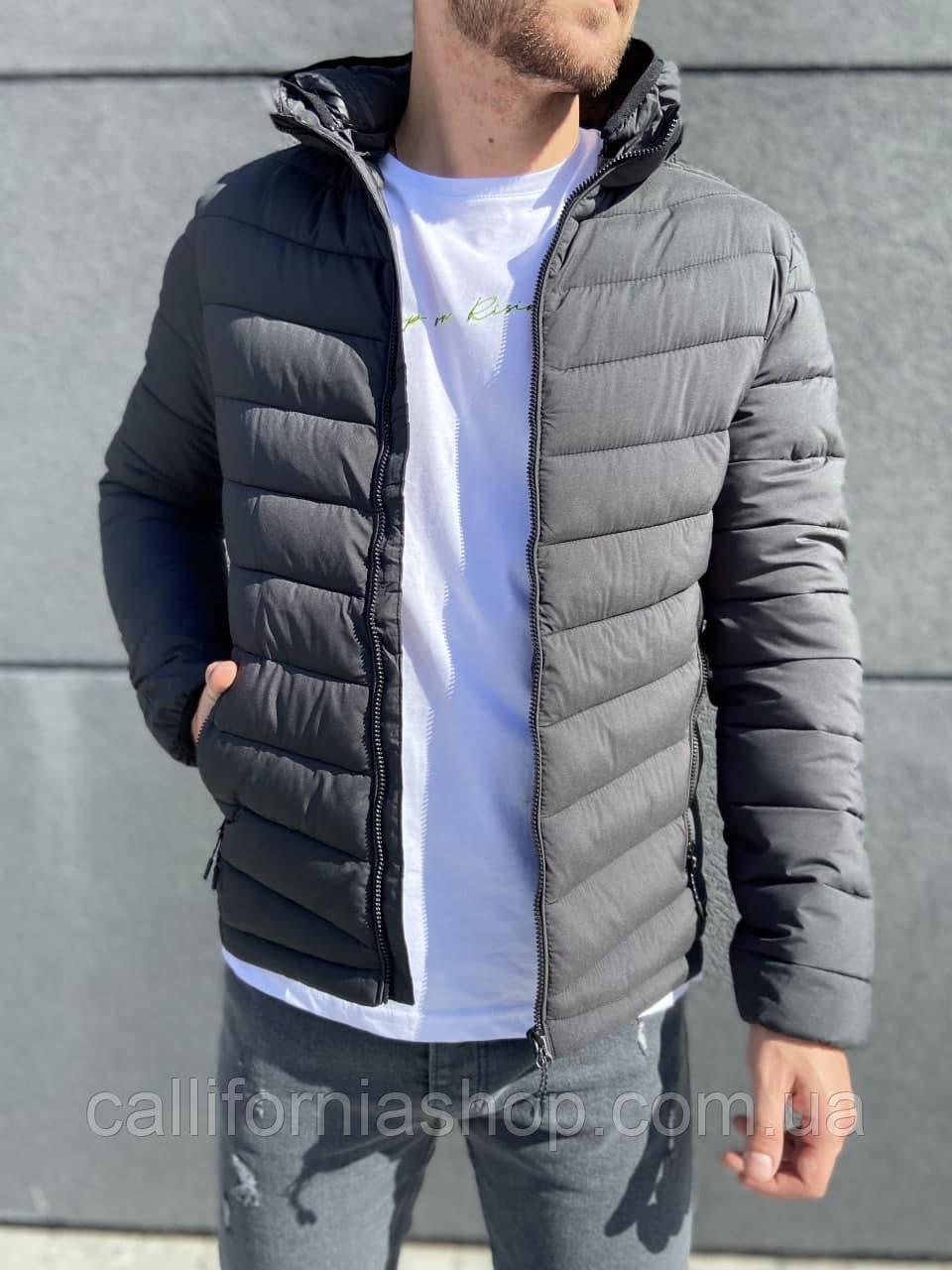 Куртка чоловіча коротка стегана з капюшоном темно-сірого кольору