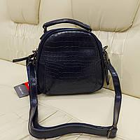 Синяя кожаная женская сумочка Турция