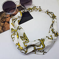 Повязка-лента на голову Золотой браслет Белая