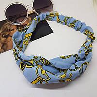Повязка-лента на голову Золотой браслет Голубая