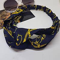 Повязка-лента на голову Золотой браслет Синяя