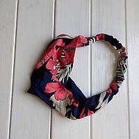 Пов'язка-стрічка на голову Великі квіти синьо-рожевий (ZMN-bigflow-darkblue)