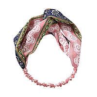 Повязка-лента на голову Орнамент цветочный Розовая