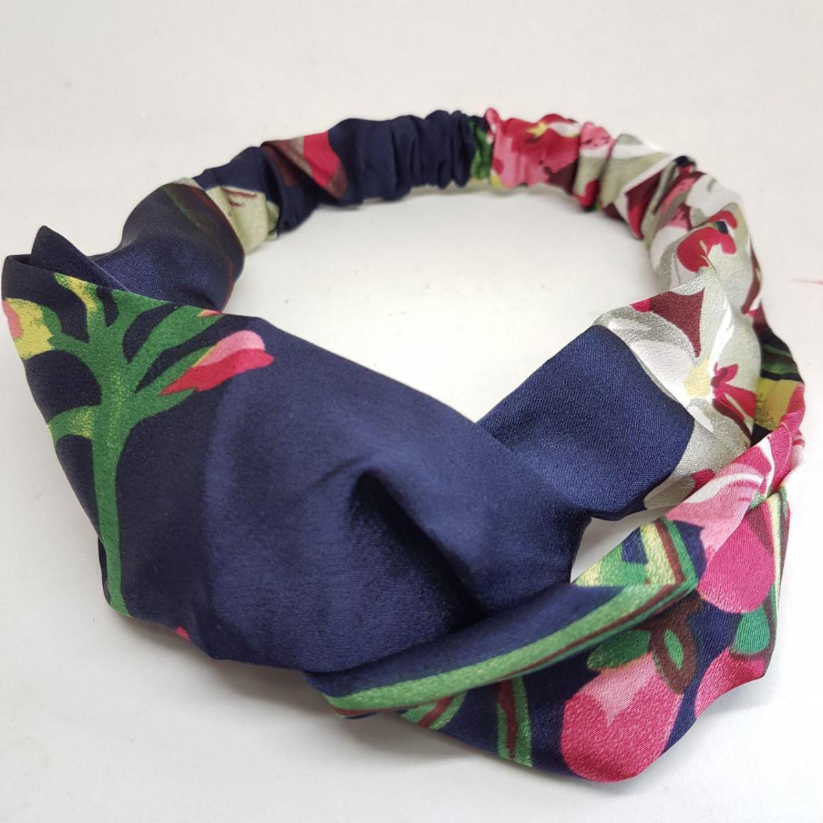 Пов'язка-стрічка на голову кольорова Квіти синя