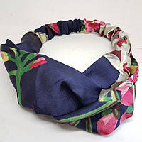 Пов'язка-стрічка на голову кольорова Квіти синя, фото 1