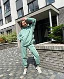 Зимовий спортивний костюм на флісі жіночий трехнитка блакитний чорний беж малина зелений мокко м'ятний 42-44 46-48, фото 7