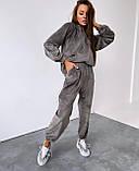 Женский спортивный костюм с велюра осенний бежевый серый графит черный хаки 42-44 46-48 худи с капюшоном, фото 3