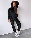 Женский спортивный костюм с велюра осенний бежевый серый графит черный хаки 42-44 46-48 худи с капюшоном, фото 4