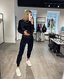 Женский спортивный костюм с велюра осенний бежевый серый графит черный хаки 42-44 46-48 худи с капюшоном, фото 6