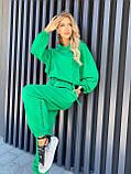 Осенний спортивный костюм женский с хлопка зеленый бежевый графит 42-44 46-48 двунить петля с худи, фото 6