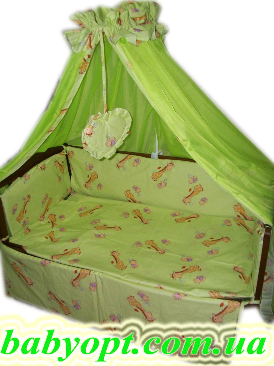 Постельное бельё в детскую кроватку Baby жирафы салатовые 8 эл. В подарок - подвеска сердечко