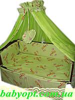 Постельное бельё в детскую кроватку Baby жирафы салатовые 8 эл. В подарок - подвеска сердечко, фото 1