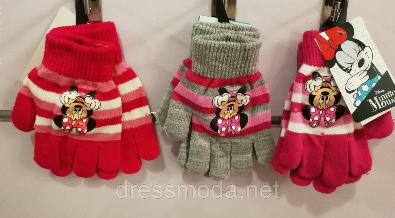 Перчатки вязанные для девочек Minnie 3-7 лет