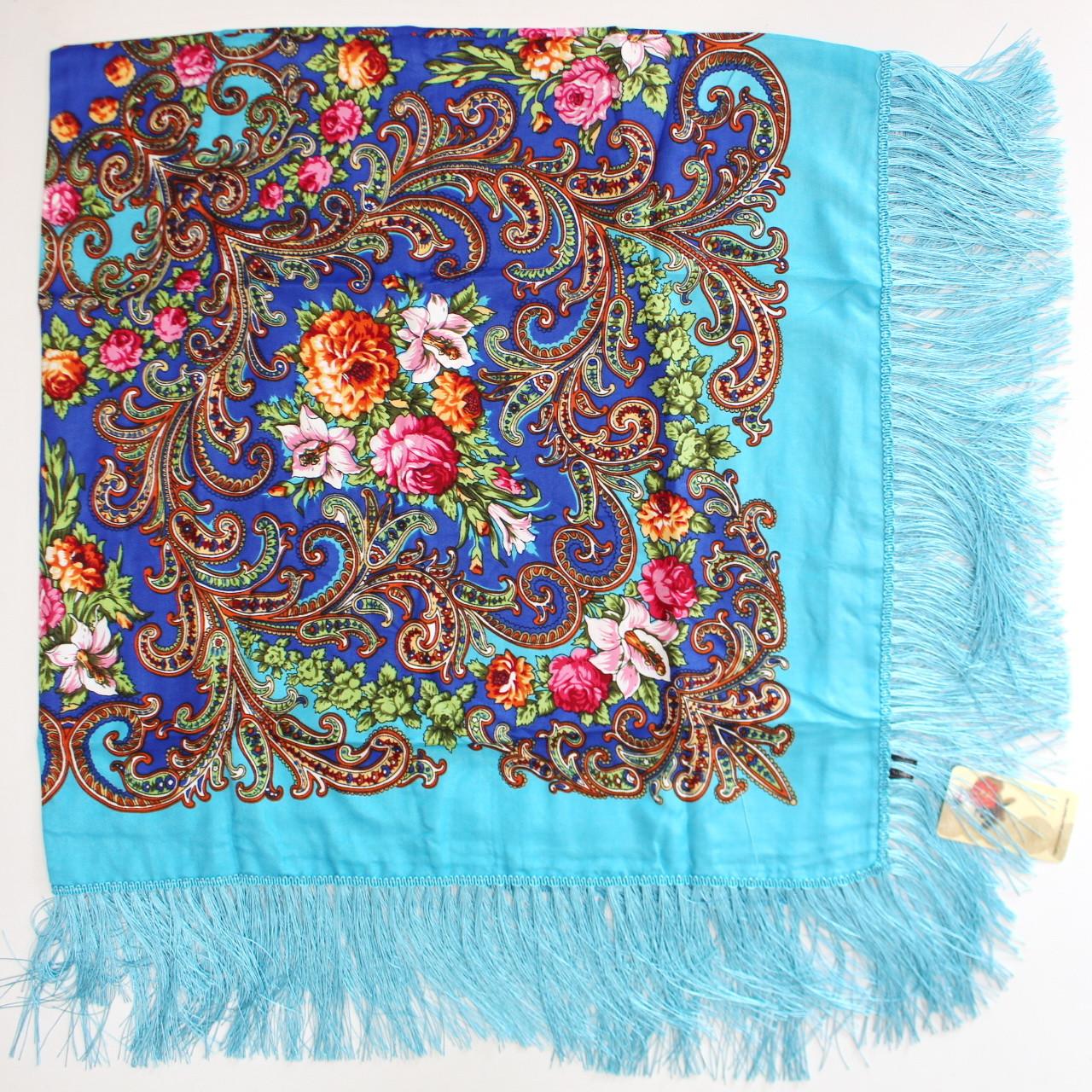 Платок бирюзовый в народном стиле (611003)