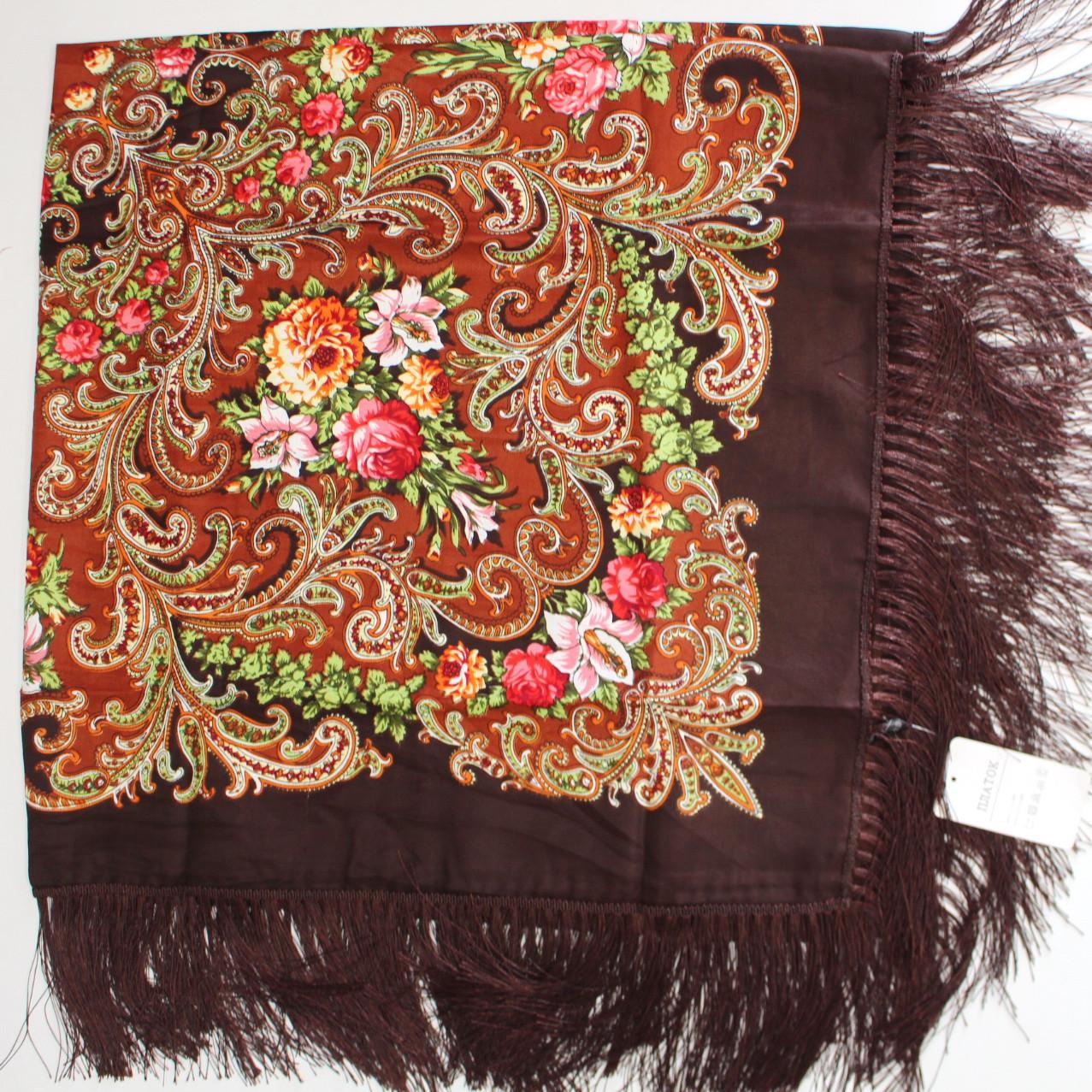 Платок коричневый в народном стиле (611008)