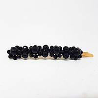 Прикраса для волосся зі стеклярусом (шпилька невидимка) 8 см Чорний