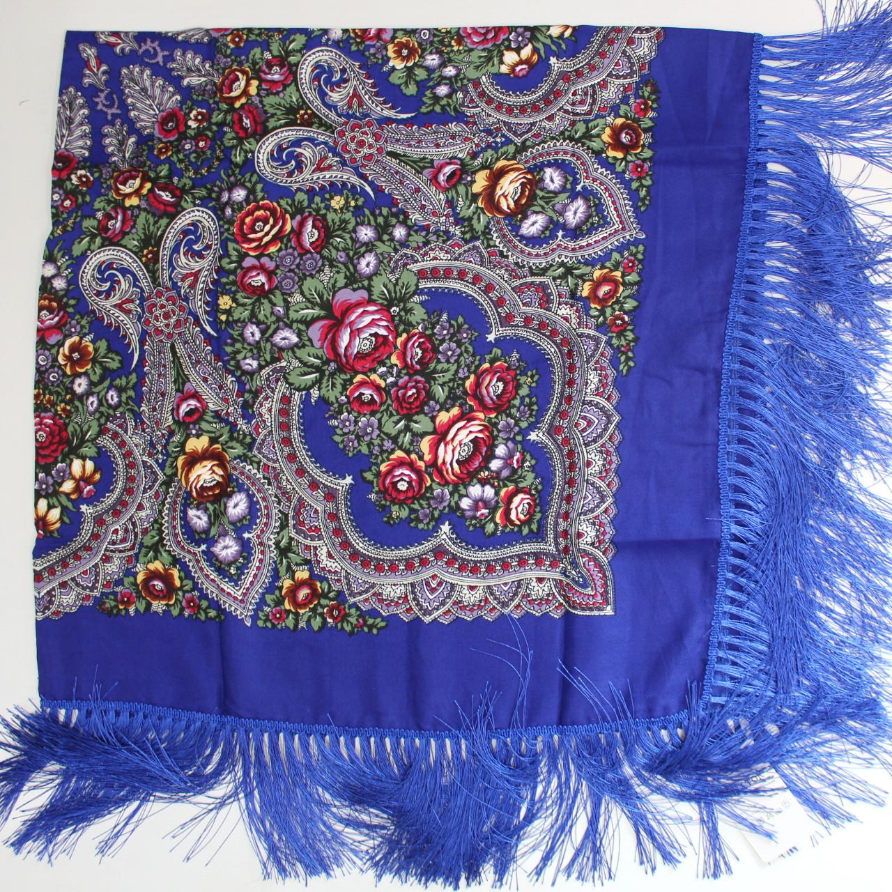 Платок украинский в народном стиле синий 611013