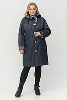 """Жіноче демісезонне плащ-пальто зі зйомним капюшоном ArDi """"Жаклін"""" Синий, 56"""