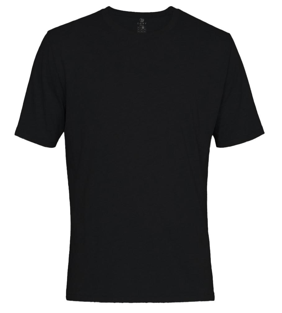 Футболка однотонна чоловіча, колір чорний, кругла горловина