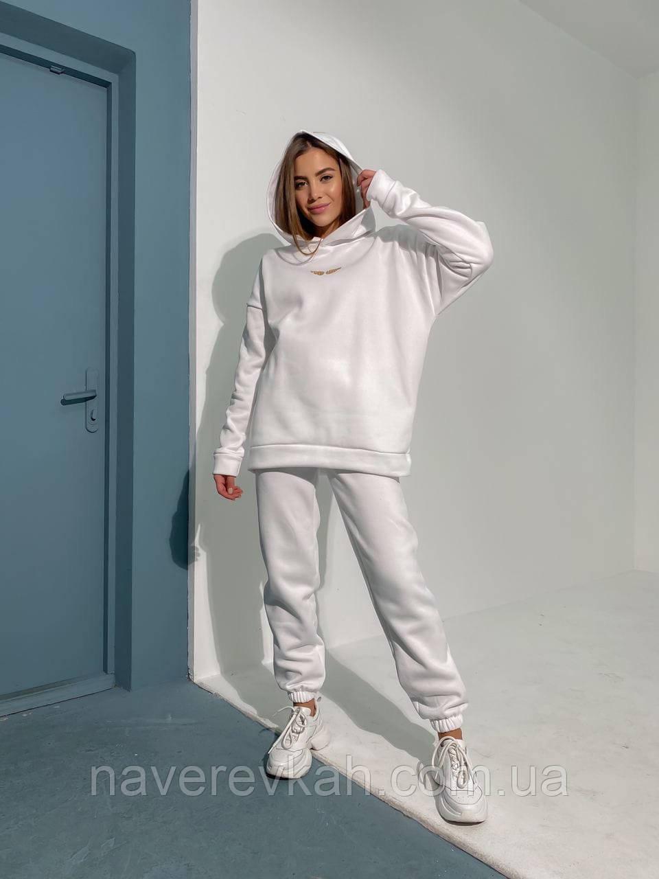 Теплый спортивный костюм на флисе зимний осенний фисташковый белый пудровый женский трехнитка 42-44 46-48