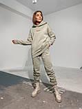 Теплий спортивний костюм на флісі зимовий осінній сірий білий пудровий жіночий трехнитка 42-44 46-48, фото 4