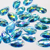 Нашивные акриловые камни, форма Капля, цвет Aquamarine АВ 11х18мм, цена за 1шт
