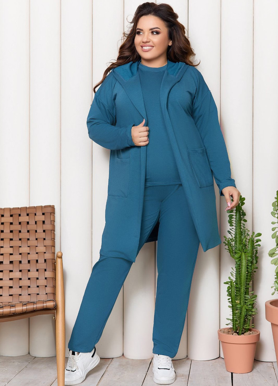 Жіночий брючний костюм 3-ка великих розмірів (футболка, кардиган, штани)