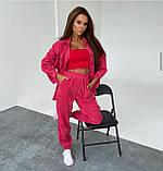 Жіночий костюм двійка осінній з брюками і сорочкою з вельвету беж малиновий, червоний, синій сірий 42-44 46-48, фото 3
