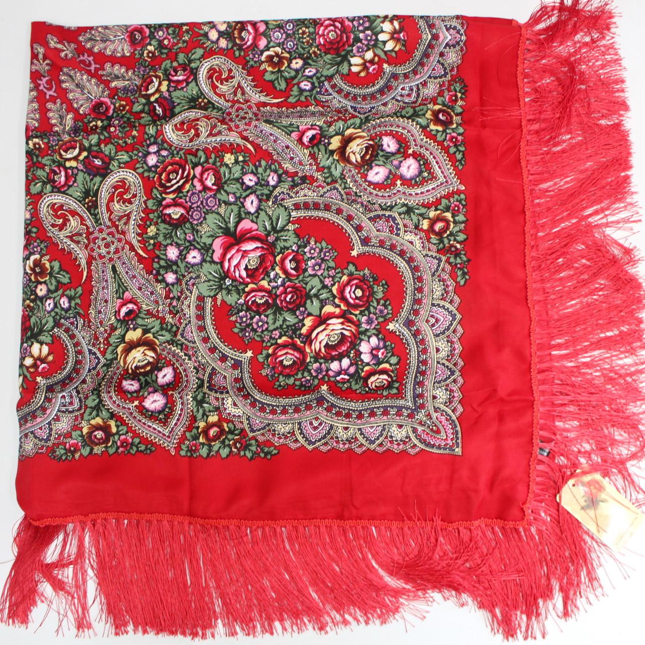 Платок украинский в народном стиле красный 611017