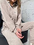 Осінній костюм двійка жіночий штани з сорочкою з вельвету беж пудра рожевий бірюза 42-44 46-48 хіт, фото 8