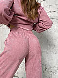 Осінній костюм двійка жіночий штани з сорочкою з вельвету беж пудра рожевий бірюза 42-44 46-48 хіт, фото 5