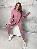 Осінній костюм двійка жіночий штани з сорочкою з вельвету беж пудра рожевий бірюза 42-44 46-48 хіт, фото 4