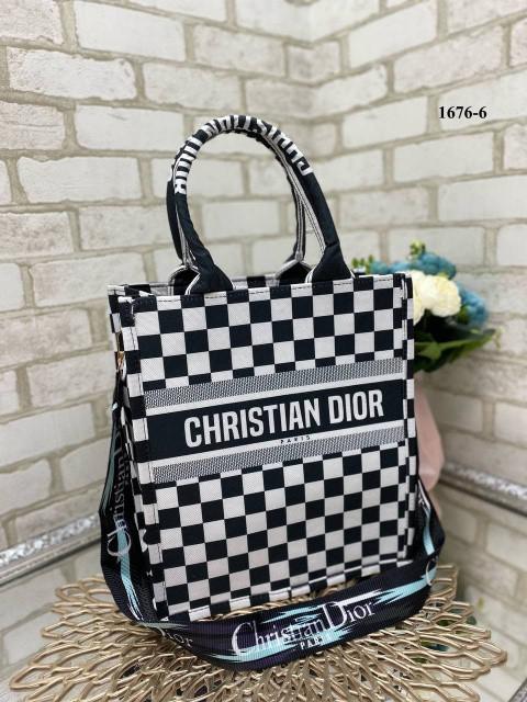 Шахматка - стильна тканинна сумка CHRISTIAN DIOR (1676-6)