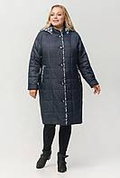 """Жіноче демісезонне плащ-пальто зі зйомним капюшоном ArDi """"Софія"""" батал Синий, 54"""