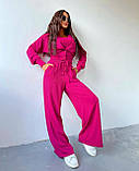 Женский костюм тройка осенний брюки майка кофта в рубчик оливковый малиновый голубой 42-44 46-48 оверсайз хит, фото 4