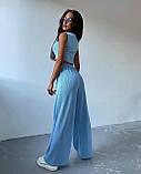 Жіночий костюм трійка осінній штани майка кофта в рубчик малиновий оливковий блакитний 42-44 46-48 оверсайз хіт, фото 6