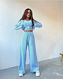 Женский костюм тройка осенний брюки майка кофта в рубчик оливковый малиновый голубой 42-44 46-48 оверсайз хит, фото 7