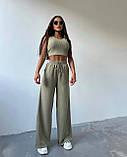 Женский костюм тройка осенний брюки майка кофта в рубчик оливковый малиновый голубой 42-44 46-48 оверсайз хит, фото 2
