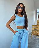 Женский костюм тройка осенний брюки майка кофта в рубчик оливковый малиновый голубой 42-44 46-48 оверсайз хит, фото 8