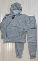 Спортивный теплый мужской костюм, однотонный трикотаж на флисе свободного кроя oversize светло-серый