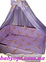 Постельное бельё в детскую кроватку Baby жирафы сиреневые 8 эл. , фото 1