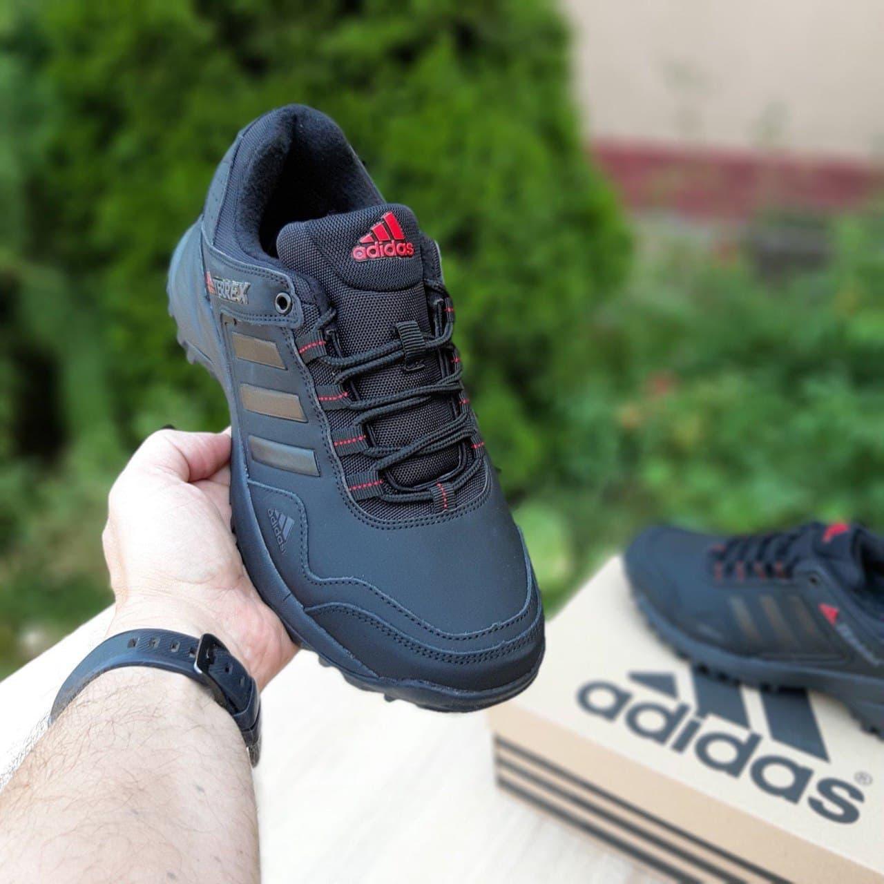 Мужские кроссовки Adidas terrex (черные с красным) О3514 евро зима водоотталкивающие