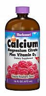 Рідкий Кальцій Цитрат Магнію + Вітамін D3 Смак Малини Bluebonnet Nutrition Liquid Calcium Magnesium Citrate