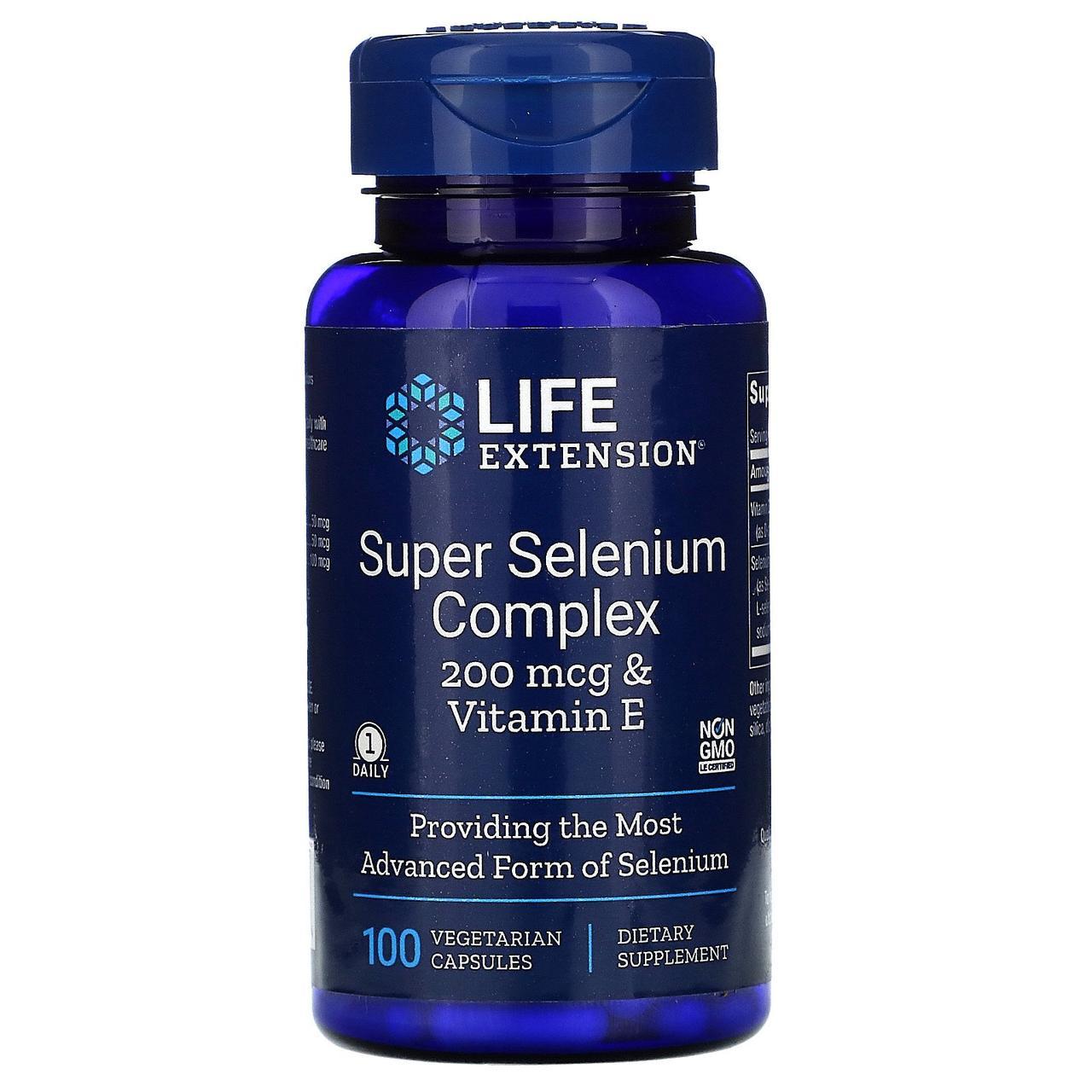 Витамины и минералы Life Extension Super Selenium Complex 200 мкг & Vitamin E 100 вег.капс Оригинал! (345771)