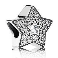 "Шарм ""Звезда желания паве"" из серебра 925 пробы пандора (pandora)"