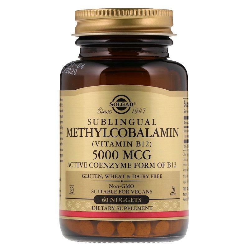 Витамины и минералы Solgar Sublingual Methylcobalamin (Vitamin B 12) 5000 мкг 60 капс Оригинал! (346045)
