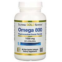 Рыбий жир фармацевтического качества California Gold Nutrition Omega 800 1000 мг 90 желатиновых Оригинал!