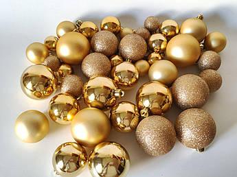 """Набор новогодних елочных шаров, """"золото"""". Микс. 40 шт"""