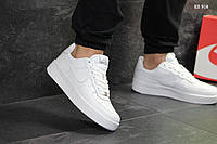 Мужские кроссовки в стиле Nike Air Force 1 Low, Найк Аир Форс 1 лов, натуральная кожа, белый, Вьетнам