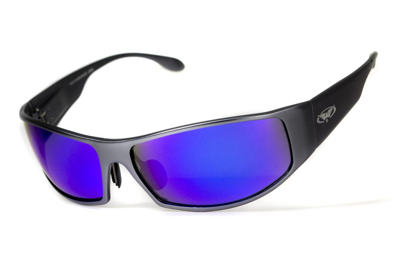 Окуляри захисні відкриті Global Vision BAD ASS-1 GunMetal (G-Tech™ blue) сині дзеркальні